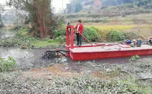陈食绞吸式清淤船抽淤作业中